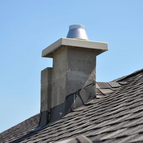 shingle roof with a chimney