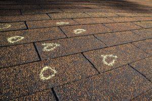 Hail Damage Circled On Roof